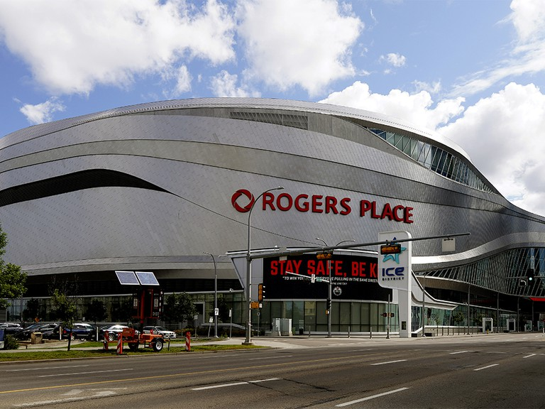 Rogers Place, home of the Edmonton Oilers, in downtown Edmonton is one of the NHL hub cities.