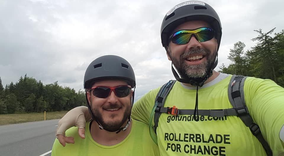 Matt Allard is taking a 500-kilometre journey from Saint John to Dalhousie, N.B., on rollerblades, joined by his friend Will Taylor on a bicycle, to raise money for the Rod Harquail Fund, Canadian Mental Health Association of New Brunswick and Bobby's Hospice.