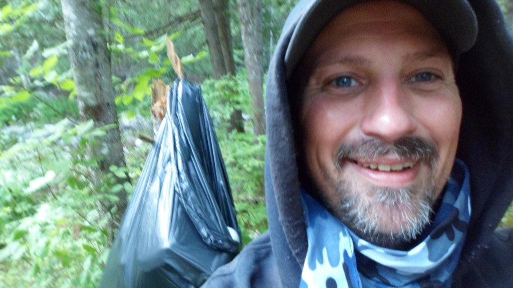 Pete Nickerson, a 'masked bandit,' is roaming the streets of Hamptonand the surrounding areas, looking for trash to clean up.
