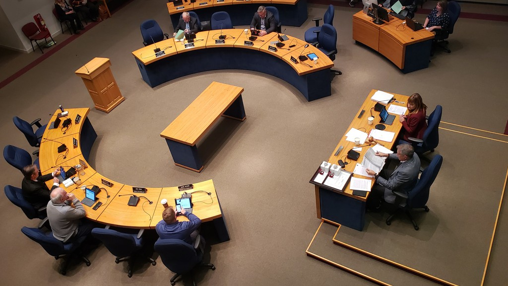 This file photo shows a meeting of Fredericton city council before COVID-19 restrictions.