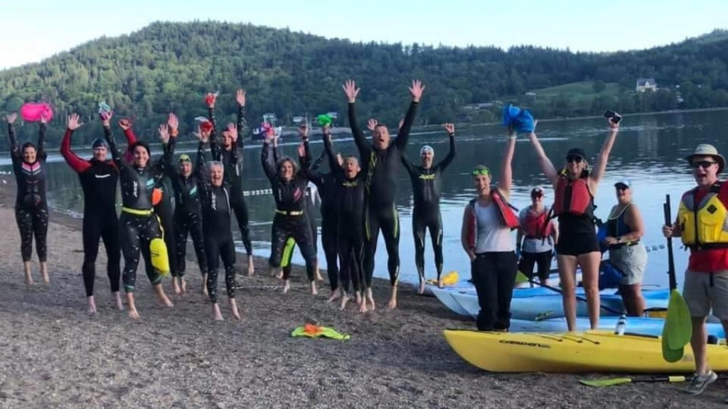 The Fundy Extreme Triathlon Club jumps for joy as they get ready to swim for MS.