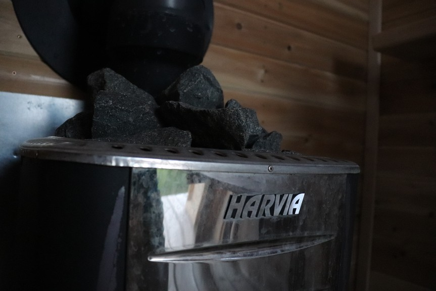 The sauna stove was imported from Finland.