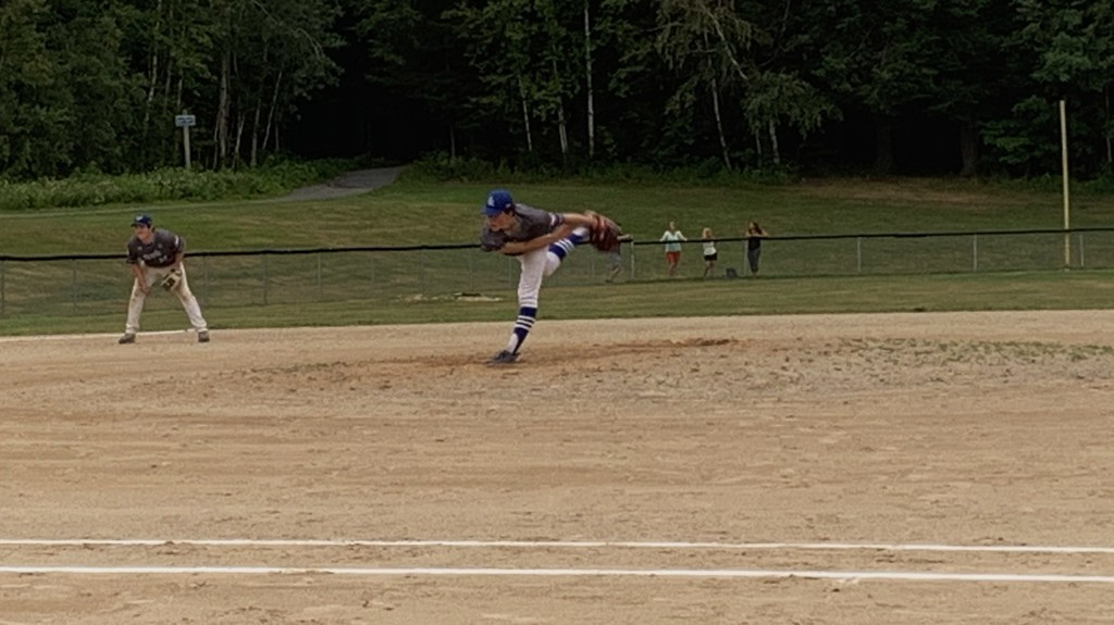 two hybrid 18U Fredericton AAA Royals teams, starter Ben Soke was the story for Team Jones, shutting down Team Tyler on two hits over 4 innings and striking out 9 in a 13-6 victory.