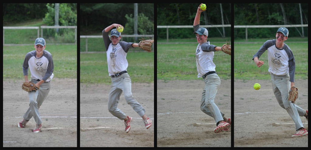 Hoyt High Sox pitcher Shane Huggard, 15, delivers the ball in U16 boys fastpitch action last weekend. Huggard, who also excels in volleyball, is glad to be able to play softball despite the COVID-19 pandemic.