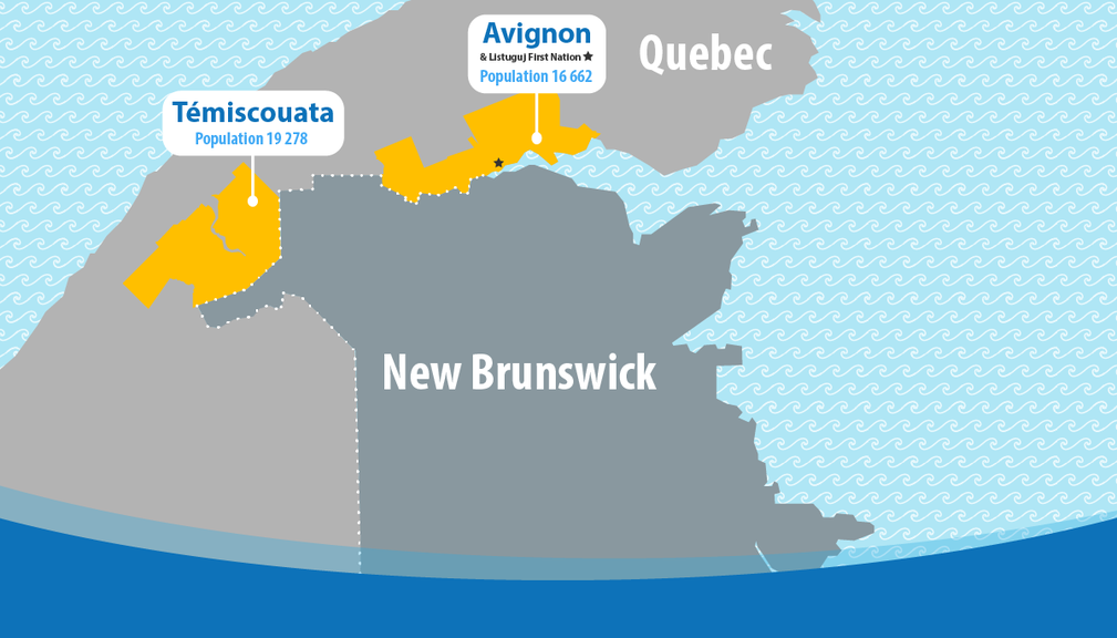 A map of the Quebec regions that New Brunswick will bubble with.