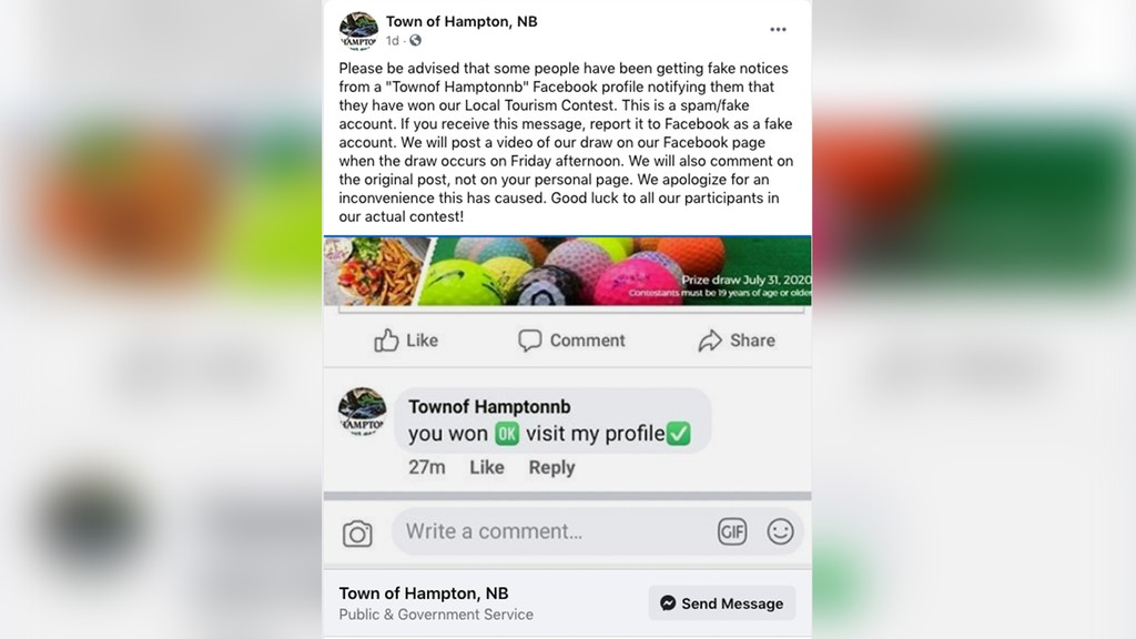The official Town of Hampton Facebook account posted this warning to residents of a scam involving a Facebook account purporting to be the Town of Hampton. The fake account attempted to lure unassuming residents to their profile after claiming they have won the weekly tourism contest being held by the official Town of Hampton.
