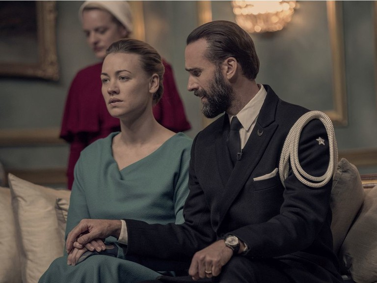 Yvonne Strahovski (centre) as Serena Joy in The Handmaid's Tale (pictured Season 3). Alastair Muir, who grew up in Regina, Sask., is the key makeup artist on The Handmaid's Tale TV show and works with Strahovski. In July 2020, Muir was nominated for an Emmy on that show.