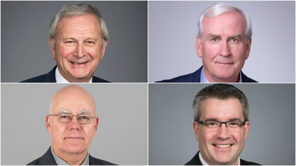 Clockwise, from top left: Premier Blaine Higgs, Liberal Leader Kevin Vickers, People's Alliance Leader Kris Austin and Green party Leader David Coon.