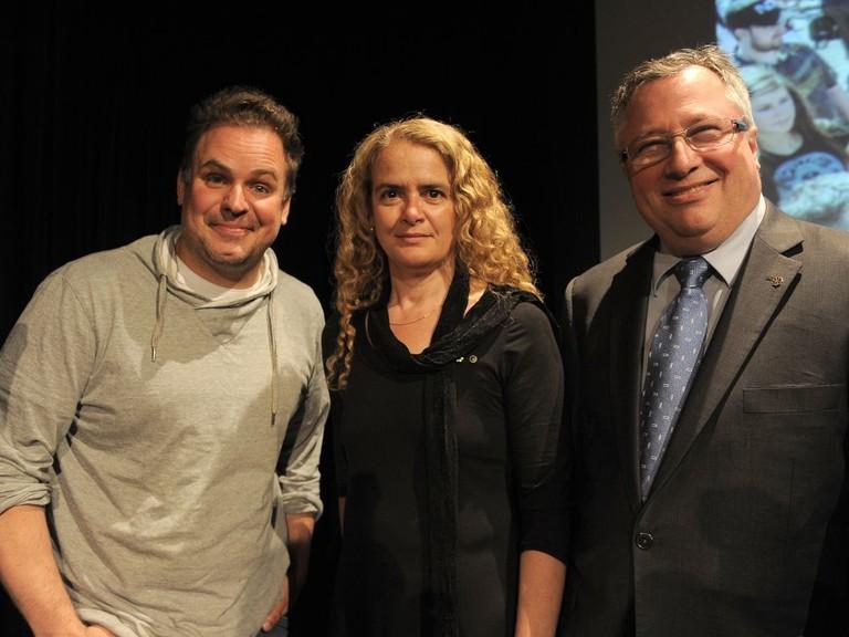 Sébastien Bellavance, Julie Payette and Richard Deschamps at the Montreal Science Centre on Wednesday, June 4, 2014.