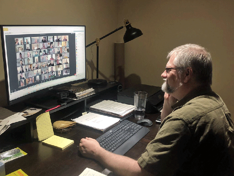 Tim Jennings, the executive director and CEO of the Shaw Festival, talks to members of the company on Zoom from his home office.