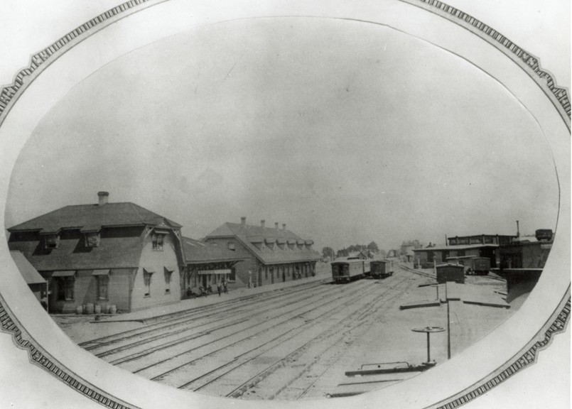 This is Campbellton's original ICR station, built in about 1875, as well as a dining hall. The station was on the north side of the tracks, roughly across from today's VIA Rail station. It burned in the fire of 1910.