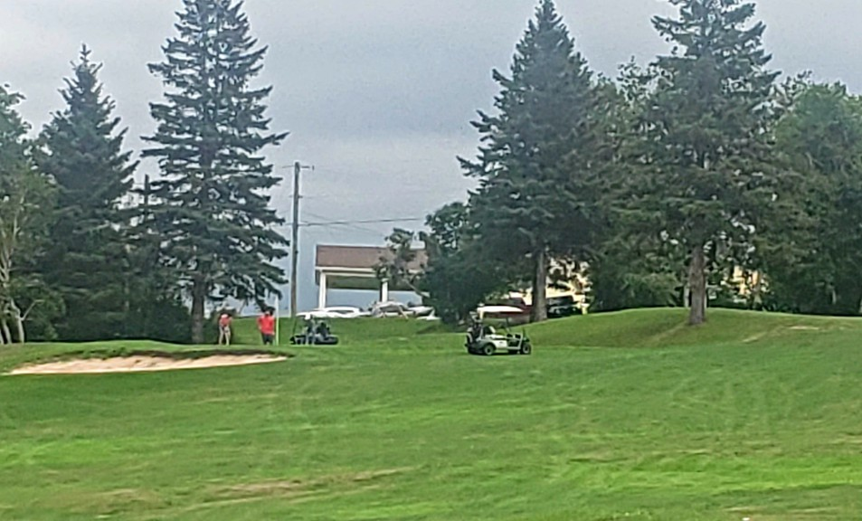 People are continuing to ignore requests by officials at the Restigouche Golf and Country Club to keep power carts away from tees and greens, as seen here on the fourth hole.