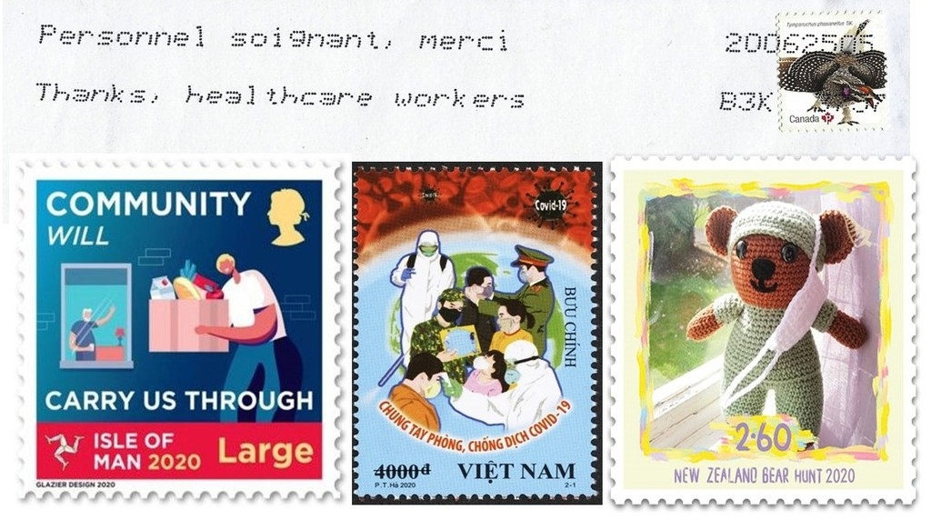 At the top is part of an envelope with Canada Post's bilingual slogan cancellation paying tribute to health care workers. Below are special pandemic-related stamps issued by, from left, the Isle of Man, Vietnam and New Zealand.