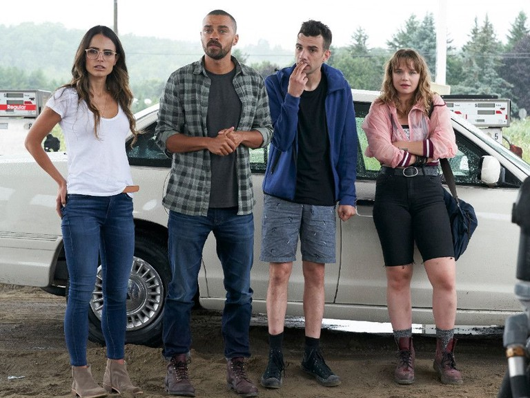 From left, Jordana Brewster, Jesse Williams, Jay Baruchel and Niamh Wilson in Random Acts of Violence.