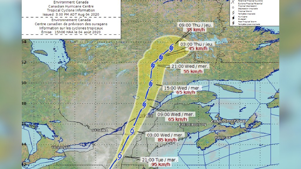 The latest tracking map shows the remnants of Isaias west of New Brunswick.
