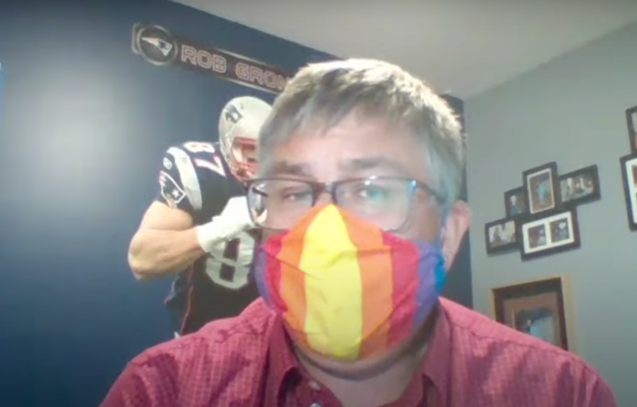 Saint John Coun. Gary Sullivan sports a homemade mask at Tuesday's virtual council meeting. He's advocating people wear masks in public if they cannot practise physical distancing.