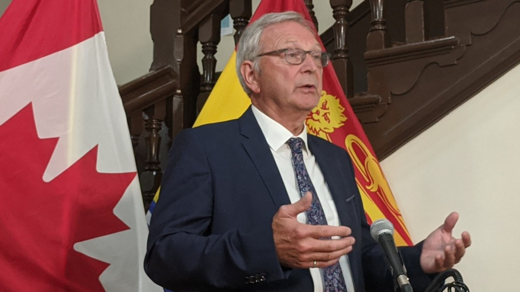 Premier Blaine Higgs speaks to reporters in Fredericton on Wednesday.