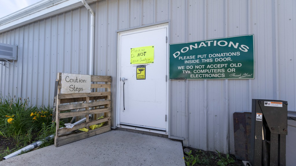 Despite clear signs around the building, Sussex Sharing Club administrator Lois King said the organization has been dealing with an increased amount of garbage donations since the COVID-19 pandemic started, taking money away from their food bank.