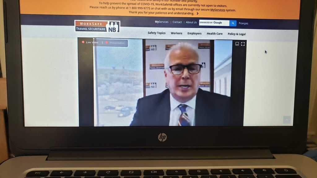 Doug Jones, CEO of WorkSafeNB, appeared by video conference Wednesday to tell viewers that businesses would likely pay a lower rate for workers' compensation next year, a drop of as much as 10 per cent.