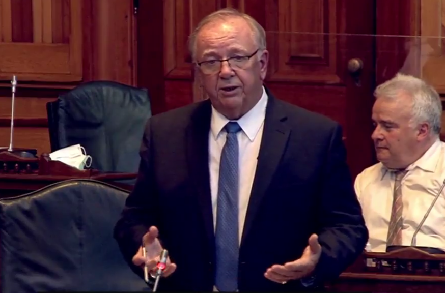 Transportation and Infrastructure Minister Bill Oliver speaks in the Legislative Assembly in June. Oliver says his department has worked with the City of Miramichi on ways to mitigate the impacts of a prolonged Centennial Bridge closure.
