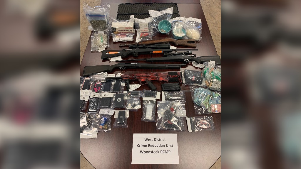 RCMP seized firearms, prohibited weapons, drugs, drug paraphernalia and an undisclosed amount of cash at two searches in Tobique Narrows and Tobique First Nation last week.