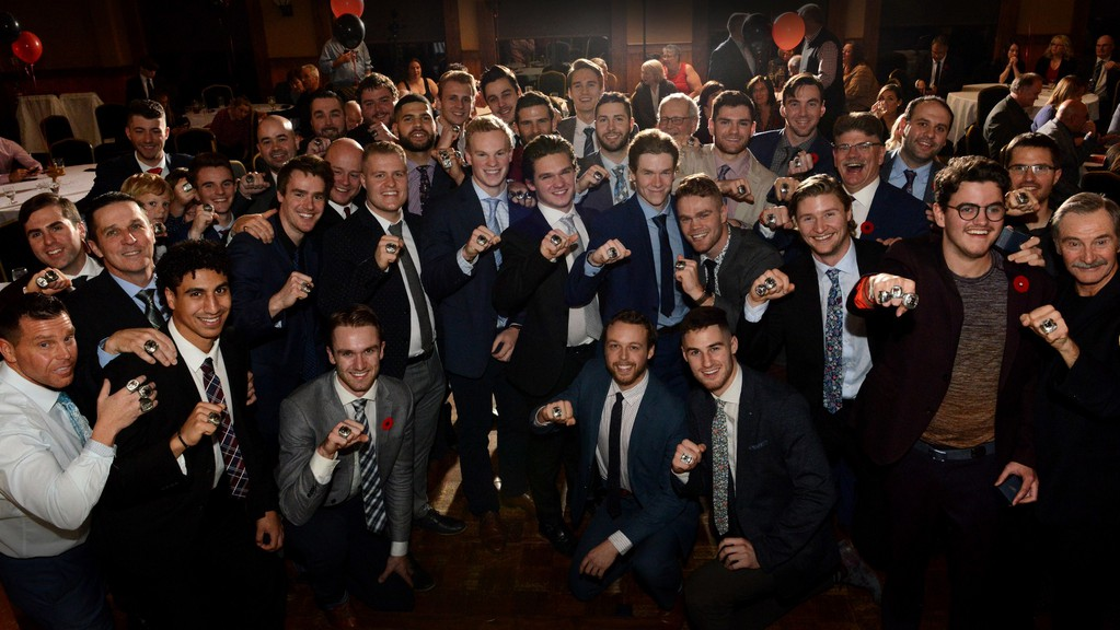 The UNB Reds celebrated their 2018-19 national men's hockey championship with a ring ceremony at Kingswood Lodge. The team didn't get a chance to repeat as champions due to the COVID-19 pandemic, but head coach Gardiner MacDougall says all players are committed to a reduced season starting in January.