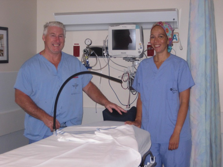 The Miramichi Regional Hospital Foundation recently purchased a new eye stretcher to assist with ophthalmology procedures at the hospital. Shown with the device are, from left: Leonard Richard, ophthalmology registered nurse, and Dr. Hila Zommer, an ophthalmology surgeon at the hospital.