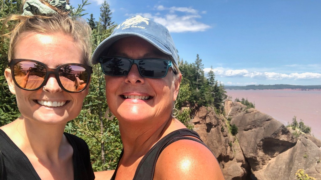 Minister Mary Wilson, right, with her daughter, Bobbi, at Hopewell Rocks.