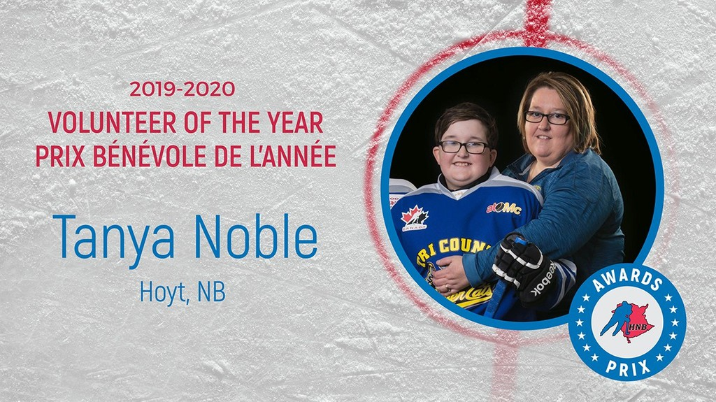 Hoyt's Tanya Noble, shown with son Mayson, was chosen Hockey New Brunswick's volunteer of the year.