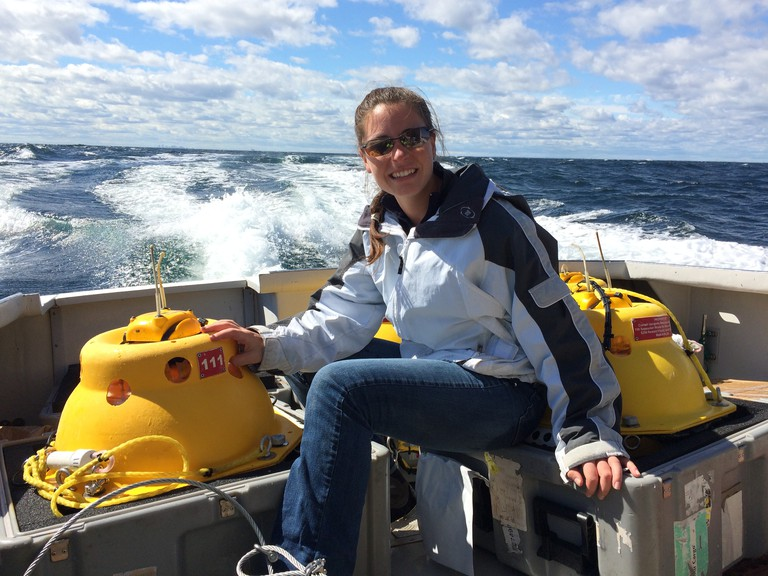 Genevieve Davis, senior acoustician with the Northeast Fisheries Science Center, spearheaded a study showing where to find four baleen whales that swim the western North Atlantic.
