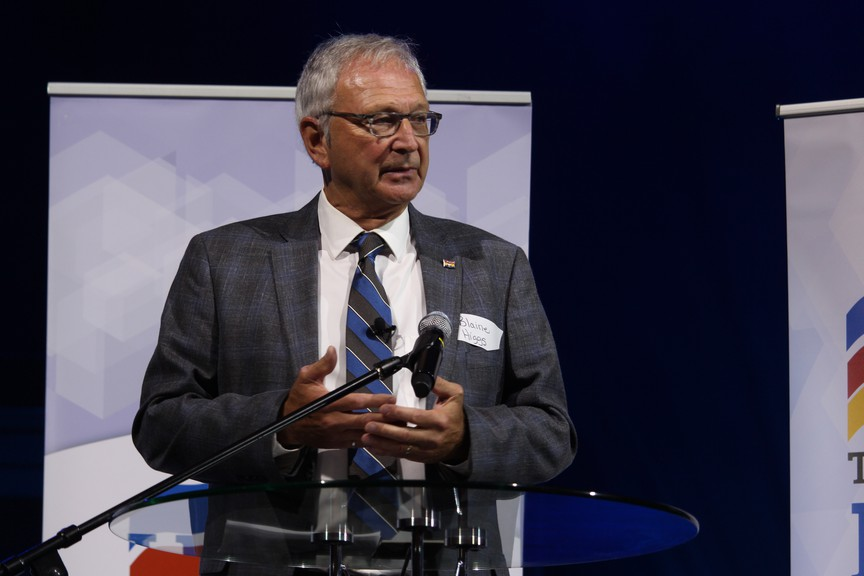 Premier Blaine Higgs stands to accept the nomination for Quispamsis at an event in the region on Saturday Aug. 8.