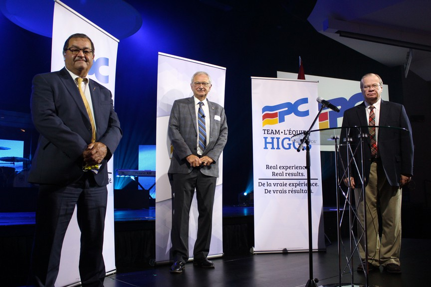 MLA Gary Crossman (left), Premier Blaine Higgs, and Minister of Health Ted Flemming accepted their nominations at the convention on Aug. 8.