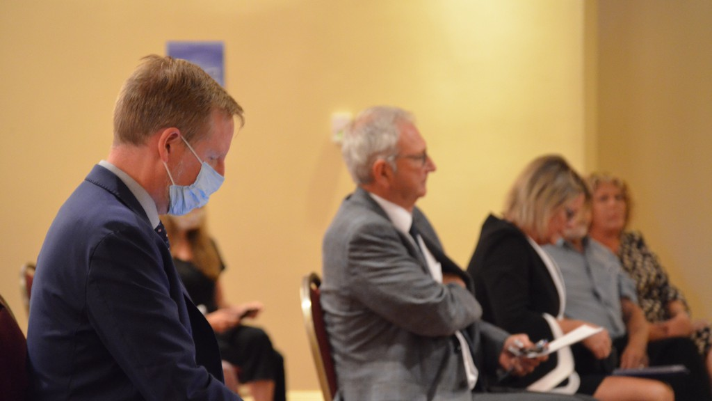 Education Minister Dominic Cardy said he thinks there are some arguments for calling a snap election now, but declined to say whether he wants to see one happen. Cardy is pictured at a nomination convention held in Fredericton Saturday, with Premier Blaine Higgs, right.