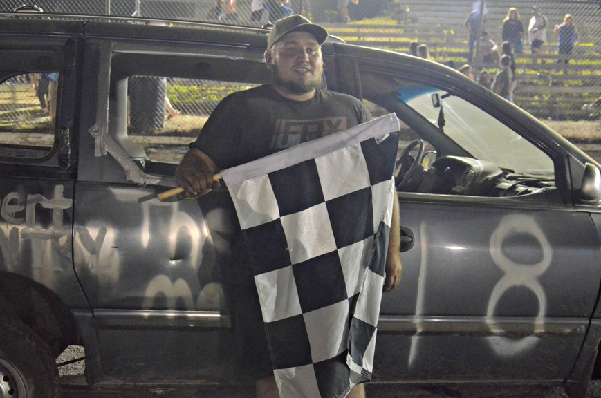 Matthew Sullivan of Chelmsford earned the grand prize in the Day of 8's demolition derby and Figure-8 contest Saturday at Speedway Miramichi in Douglastown.