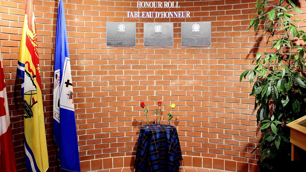 The Fredericton Police Force unveiled a permanent honour roll Monday morning in memory of three fallen officers: Const. Robb Costello, Const. Sara Burns and Const. Perley S. Calhoun.