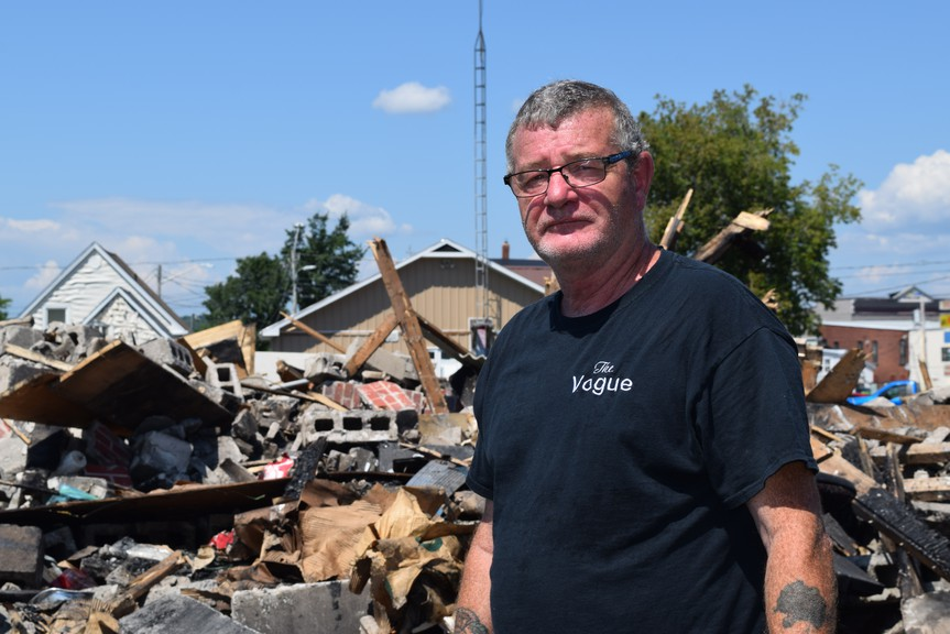 As a teenager, Stephen Malley worked at the Vogue Theatre. He spent Monday trying to salvage memories from the site after a destroyed the 70-year-old building over the weekend.