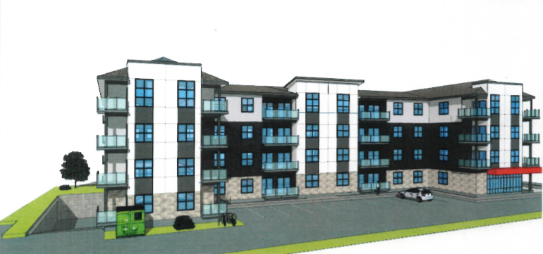 This is an artist's rendering of the 56-unit apartment building approved for 616-620 Forest Hill Road by Fredericton city council Monday night.