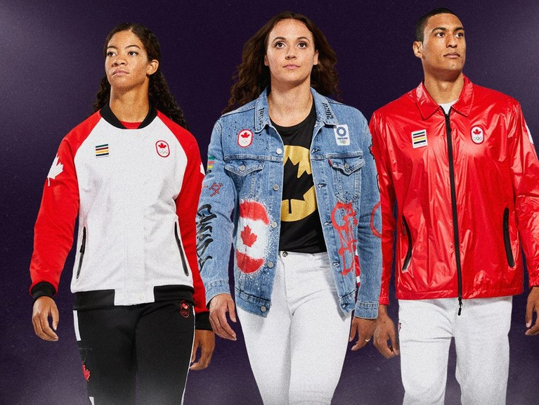 From left to right: Sarah Douglas (sailing) wearing a podium outfit, Kylie Masse (swimming) wearing a closing ceremony outfit, and Pierce Lepage (athletics) wearing opening ceremony outfit.