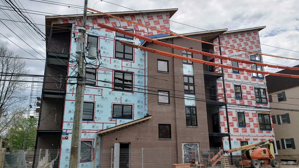 An apartment building under construction in Fredericton in May 2020.