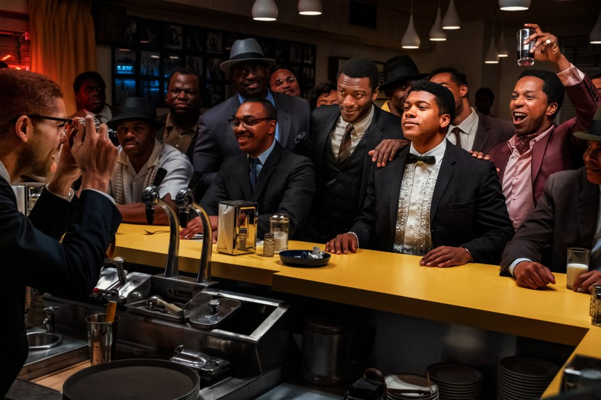 A scene from One Night in Miami featuring Kingsley Ben-Adir,Eli Goree,Aldis Hodge andLeslie Odom Jr.