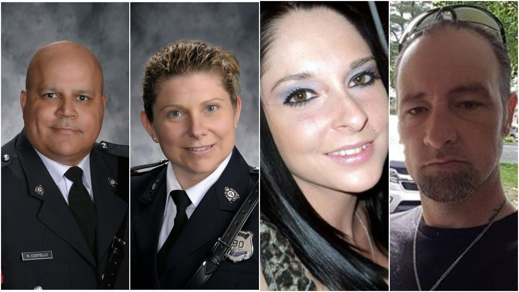 Const. Lawrence Robert (Robb) Costello, left, Const. Sara Mae Helen Burns, Donald Adam Robichaud and Bobbie Lee Wright – the fatal victims of an Aug. 10, 2018, shooting on Fredericton's north side.