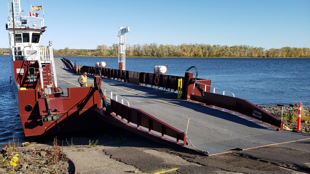 The Gagetown ferry docking on the west side of the St. John River on Sunday. The Higgs government reinstated operation of the ferry earlier this year. Its final crossings of the season took place Thanksgiving Monday.