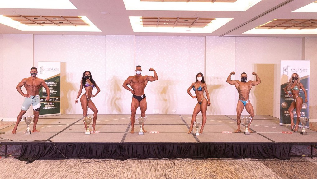 The New Brunswick open and natural Canadian Physique Alliance championships were held at the Delta Beausejour Hotel. Among the participants were, from left: Sam Gray, Bianca Hughes, Taylor Comeau, Julie LeBlanc, Antoine Arsenault and Vanessa Hickey.