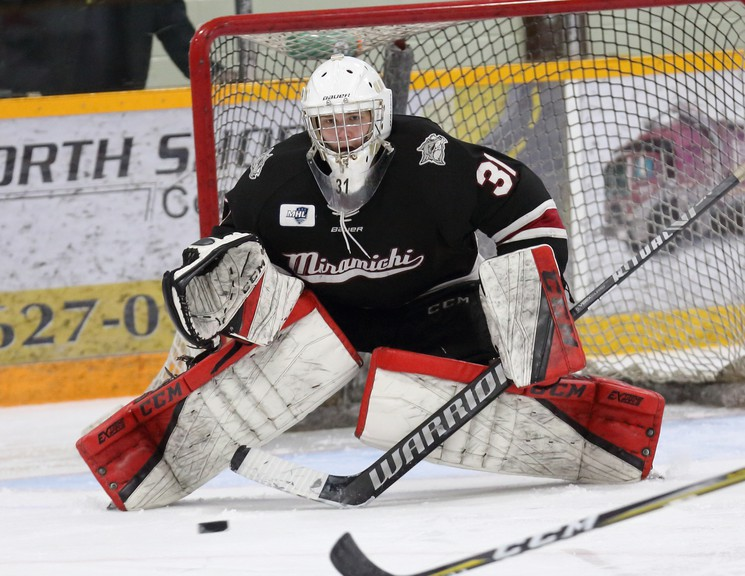 Ben Gibbon saw action between the pipes in both of the Miramichi Timberwolves' first two Maritime Junior Hockey League pre-season exhibition games against the Fredericton Red Wings. The Wolves lost 7-6 Oct. 10 in Miramichi and 7-4 Oct. 9 in Fredericton.
