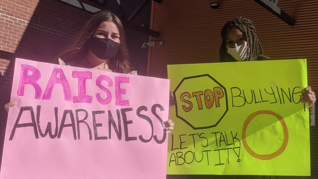 Riverview High School students Brooklynn Clarke, left, and Malika Cisse organized a demonstration on Tuesday calling for the school to address issues related to bullying and mental illness.
