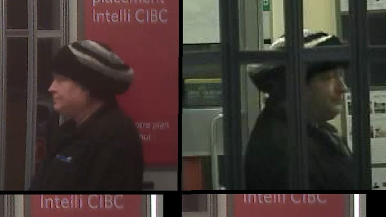 Surveillance video photos released by Codiac RCMP show a suspect in a July bank robbery at the CIBC branch on Mountain Road in Moncton.