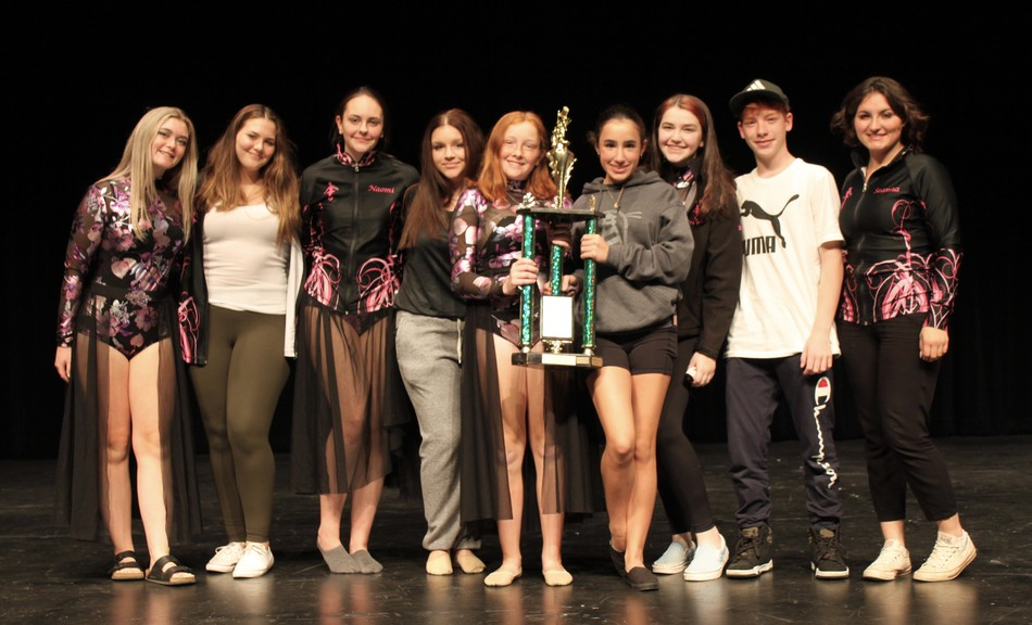 Chastity Poirier Dance Palace students Shay Butler, Hannah Court, Naomi Wallace, Hanna Whytewood, Emma Morris, Nadia Savoie, Shelby Sturgeon, Logan Saunders, and Seanna Doucet won the lyrical champion, best group aged 15 to 18, and best costume titles at the Eastern Canadian Dance Championships, held Sept. 26 in Miramichi.