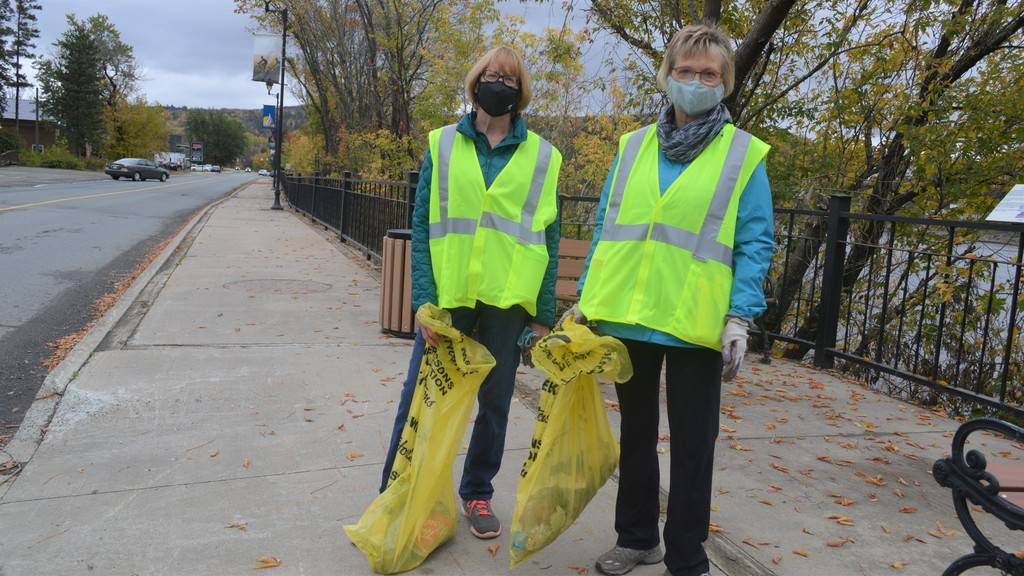 The Rotary Club of Perth-Andover carried out its first community clean-up in the village on Oct. 3. From left, Patria Hebert, the newest member of the club, and President Cheryl Reed, were among the participants.