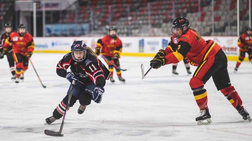 Érica Plourde, left, a forward with the EDZA East Rockets under-18 female hockey, team has committed to the Université de Moncton Aigles Bleues.