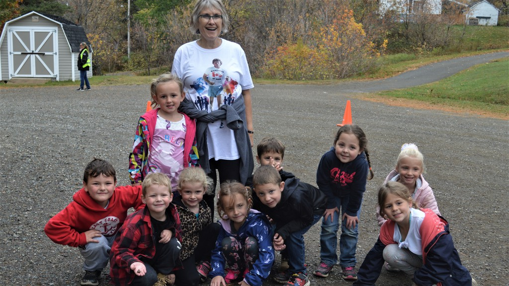 Kindergarten students at Donald Fraser Memorial School in Plaster Rock joined retired teacher Amber Ashworth in taking part in Terry Fox activities on Oct. 2. Students stayed within their bubbles for this year's event due to the pandemic.